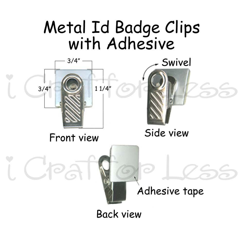 10 metal id badge paci pacifier holder clips w adhesive ebay. Black Bedroom Furniture Sets. Home Design Ideas