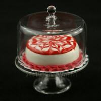 Glass Cake Stand (J) & Iced Cake Dolls House Miniatures