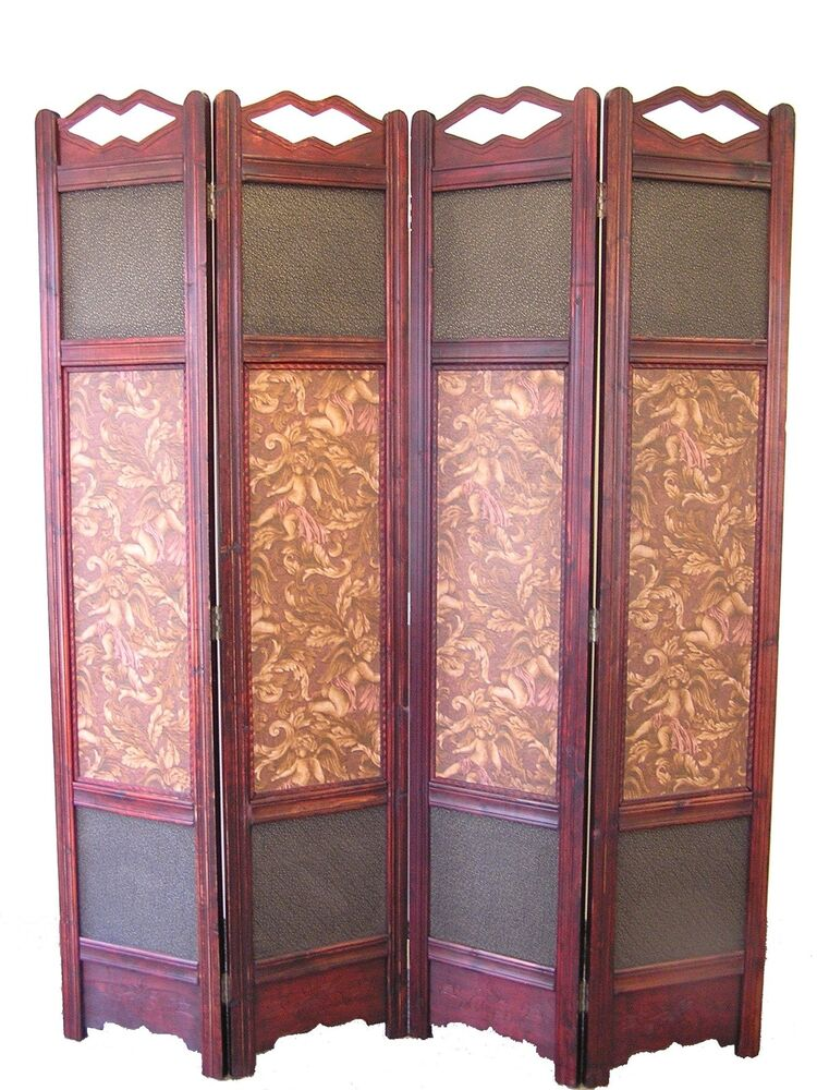 Wood Screens Room Dividers ~ Little angel room divider screen panel wooden frame ebay