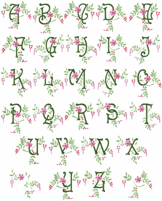 abc designs spring touch monograms embroidery designs set for 4 u0026quot x4 u0026quot  hoop