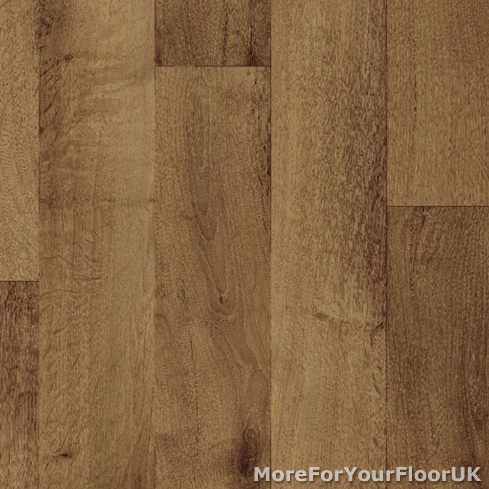 Vinyl flooring kitchen bathroom dark brown wood lino ebay for Dark wood vinyl flooring