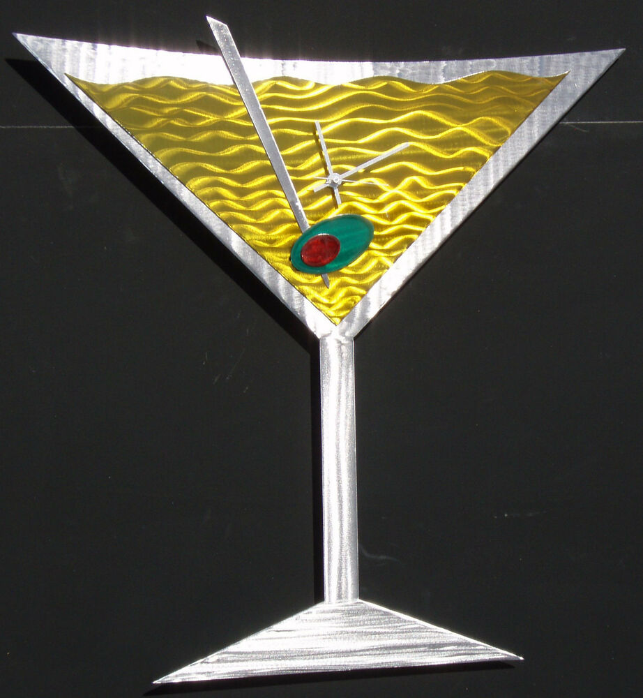 MARTINI CLOCK METAL WALL ART ABSTRACT SCULPTURE DECOR EBay