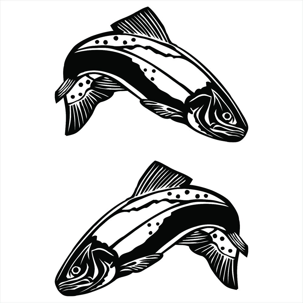 30cm trout decals sticker for fishing uv vinyl ebay for Fishing boat decals