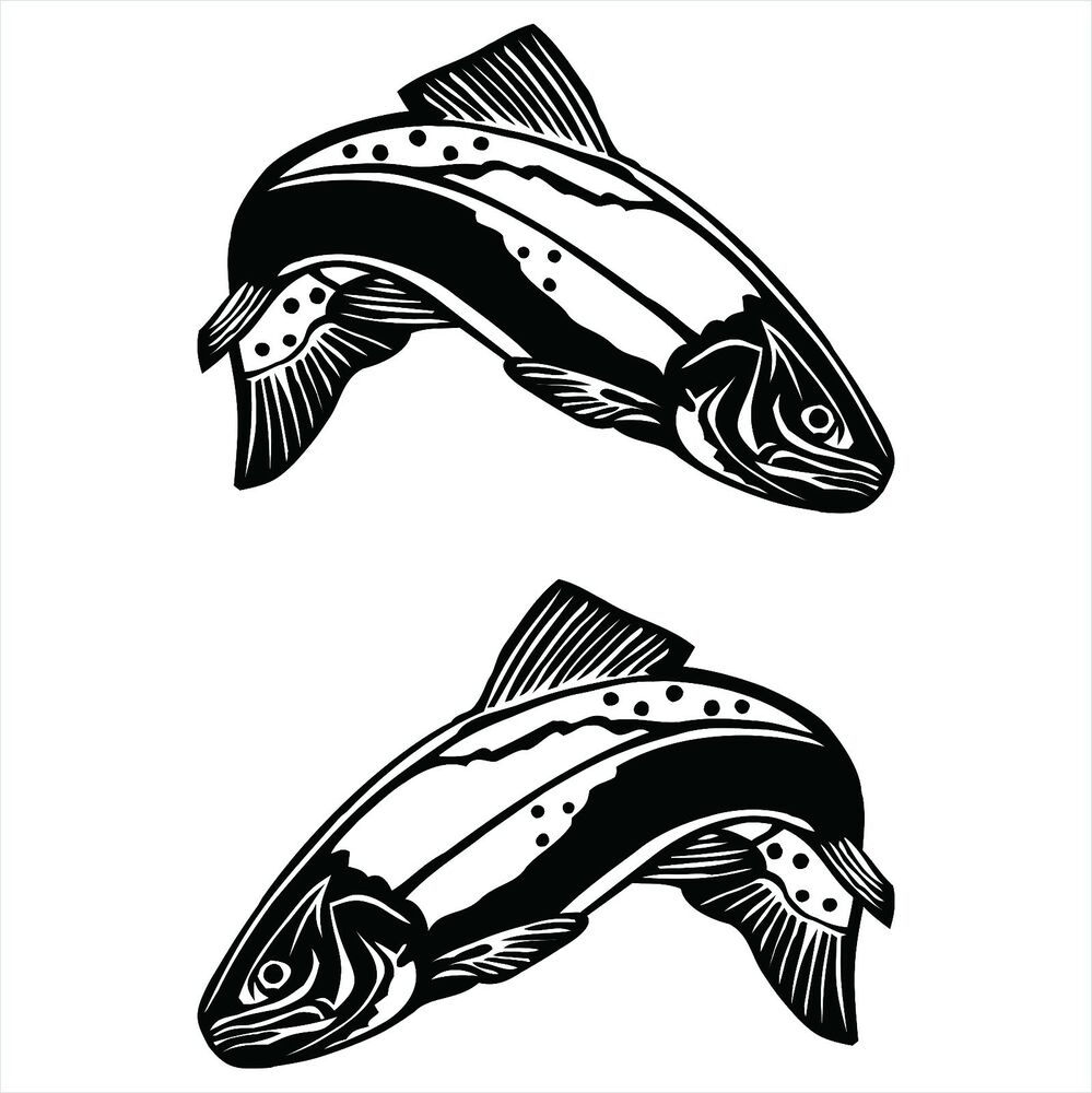 30cm trout decals sticker for fishing uv vinyl ebay for Fishing vinyl decals