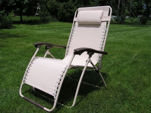 wide lounge chair delux extra wide zero gravity lawn chair beige patio 22151 | s l1000