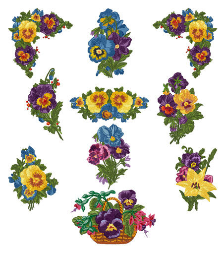 Romantic pansies machine embroidery designs 5x7 hoop ebay for Embroidery office design version 7 5