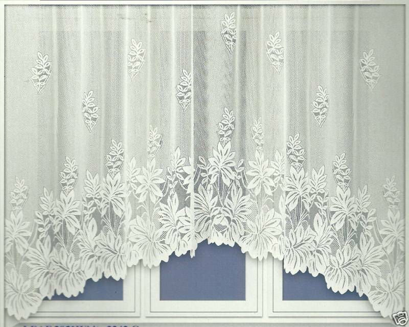 White leaf jardiniere net curtain 21 different sizes ebay for Drapes or curtains difference