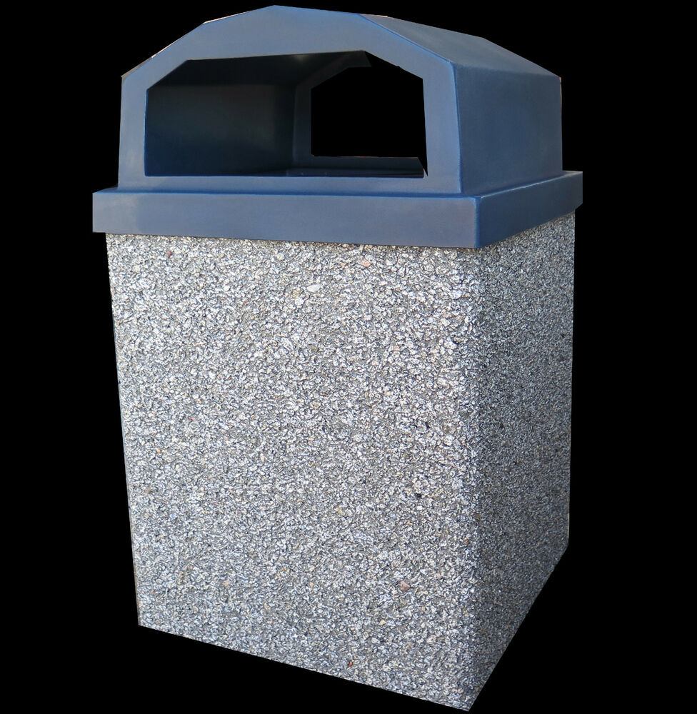 trash can 30 gallon granite gray concrete shell with lid and liner ebay. Black Bedroom Furniture Sets. Home Design Ideas