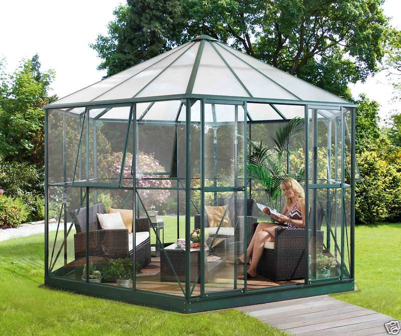 vitavia hera 9000 smaragd gr n alu glas pavillon gew chshaus 9qm ebay. Black Bedroom Furniture Sets. Home Design Ideas