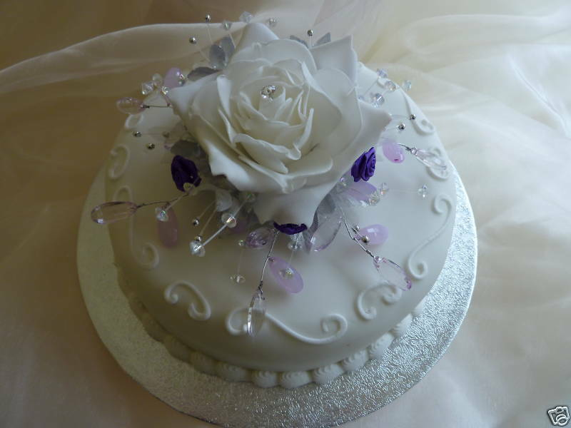 ivory wedding cake with purple roses ivory purple amp lilac cake topper wedding ebay 16552