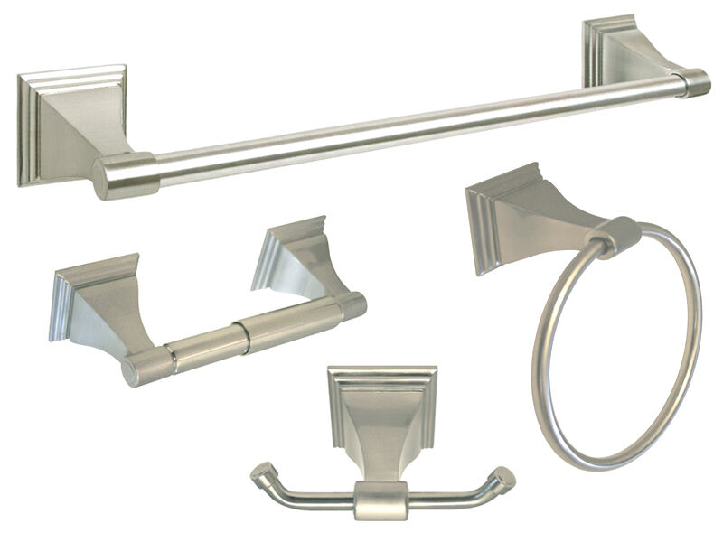 Satin Nickel Bathroom Hardware Accessories 4 Pc Combo 18 Towel Bar Hook Holder Ebay