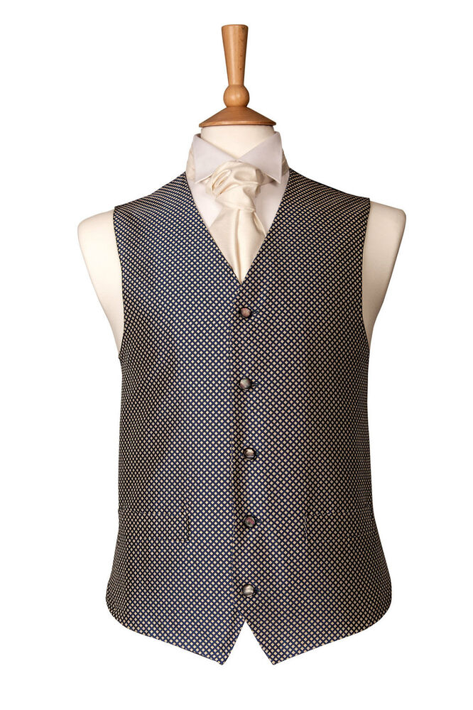 Mens wedding ivory cream blue dress suit waistcoat ebay for Mens ivory dress shirt wedding
