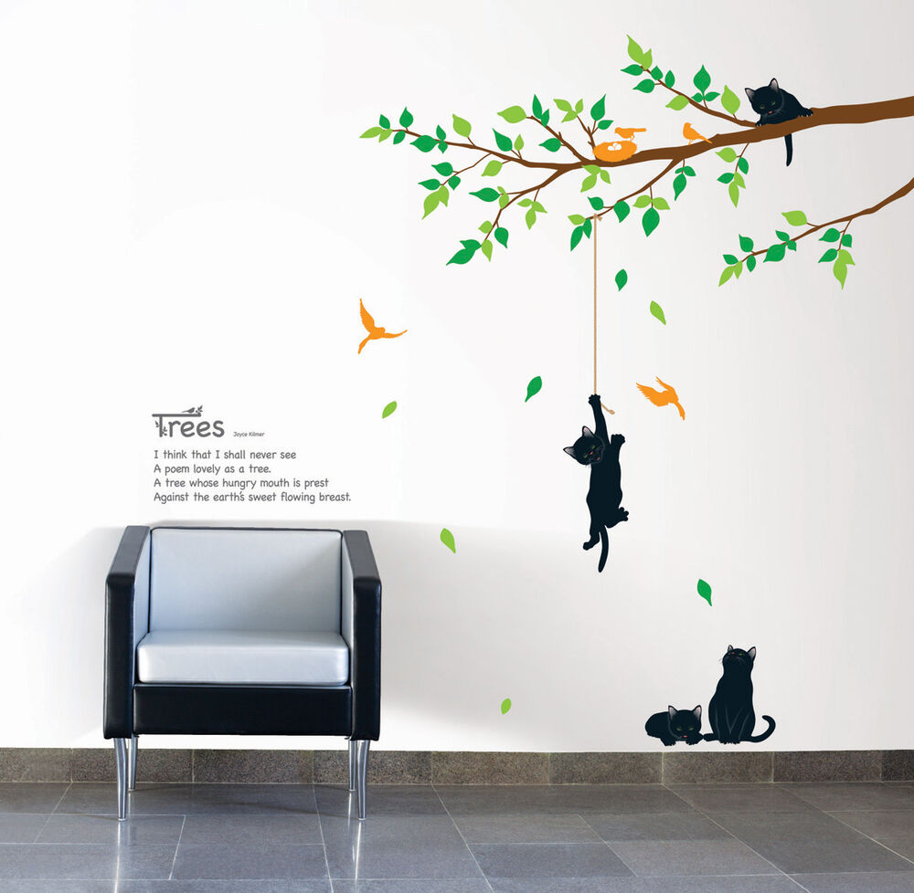 kr0043 cats tree wall art decor diy decal sticker ebay. Black Bedroom Furniture Sets. Home Design Ideas