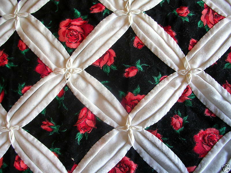 Cathedral Window Quilt Red Rose Pattern Queen Size Ebay