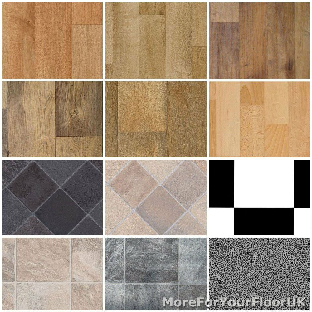 Non slip vinyl flooring wood oak tiles cheap lino 4m ebay for Cheap linoleum flooring