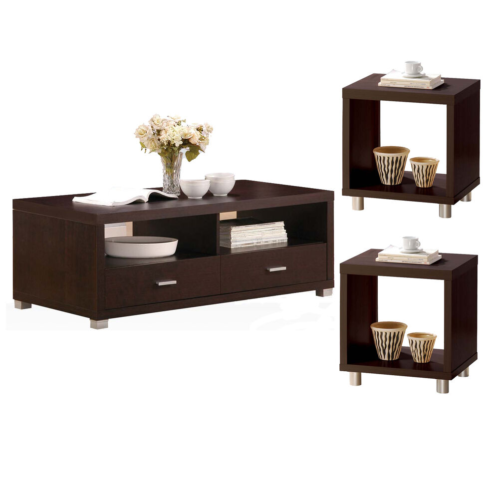Contemporary Espresso Wood Nickel Metal Leg 3 Pc Occasional Coffee End Table Set Ebay