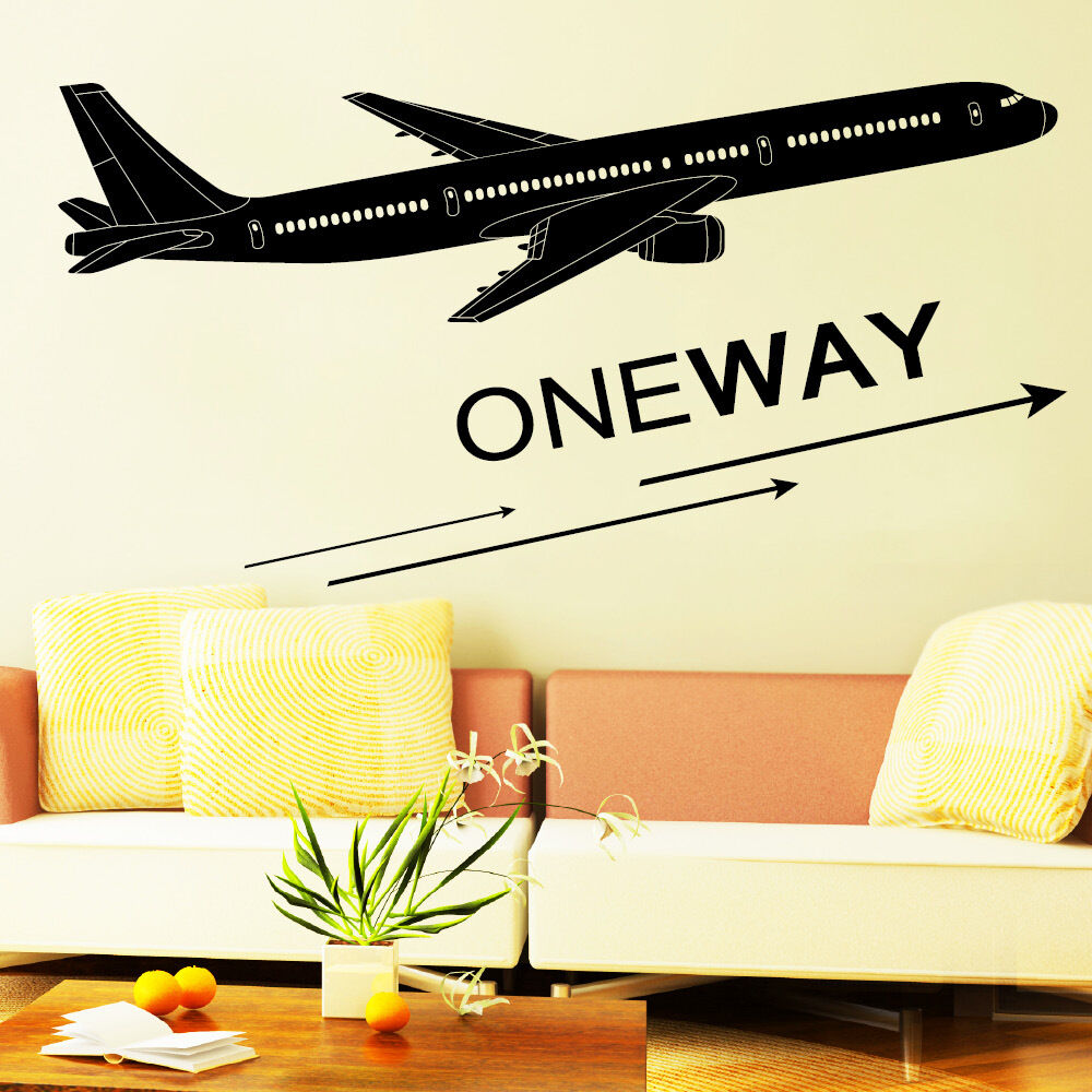 wandtattoo flugzeug oneway kinderzimmer flieger ab 23 00 10127 ebay. Black Bedroom Furniture Sets. Home Design Ideas