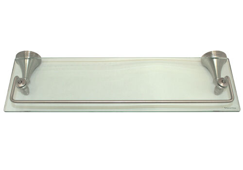 Satin nickel bathroom accessories bath 18 x 6 glass - Bathroom accessories glass shelf ...
