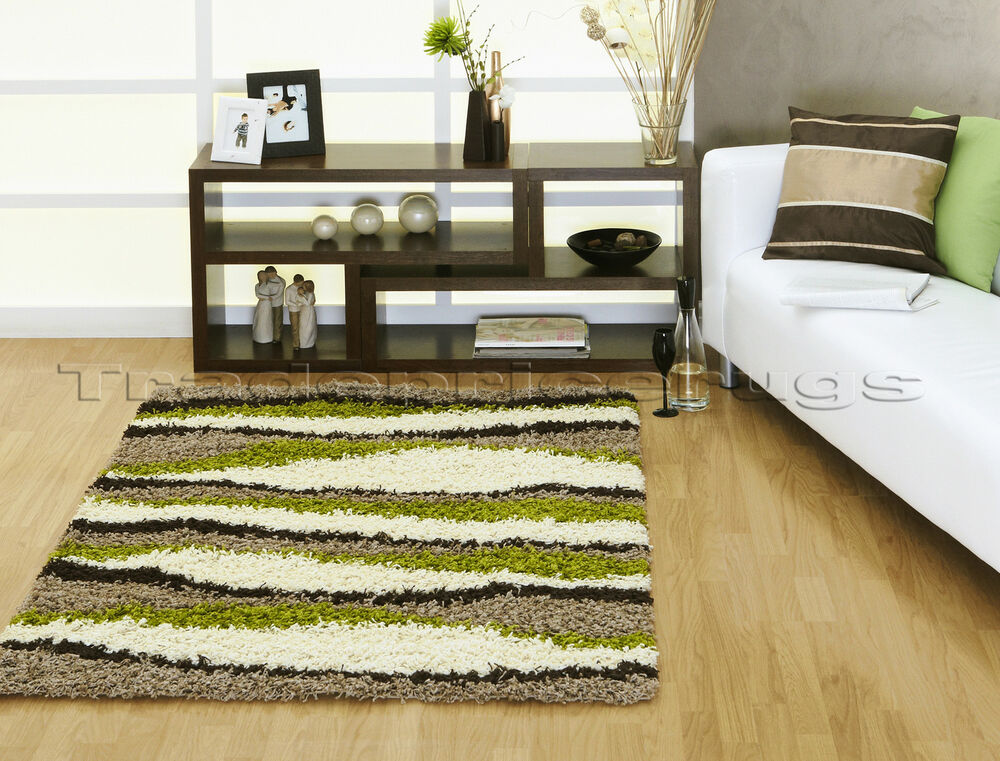 Large chocolate brown lime green cream beige shaggy rug ebay for Green and cream rugs