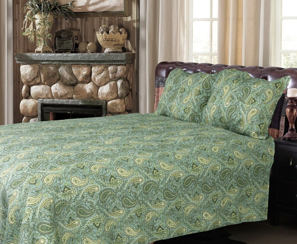Green Persian 100 Cotton 3 Piece Quilt Set Bedspread