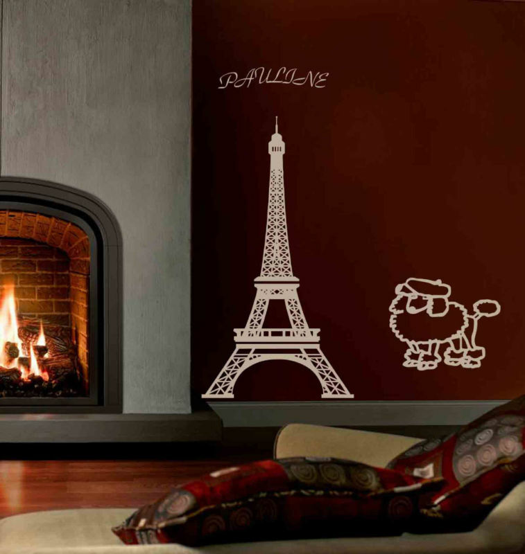 Eiffel tower paris wall mural vinyl decal w your name ebay for Eiffel tower wall mural black and white