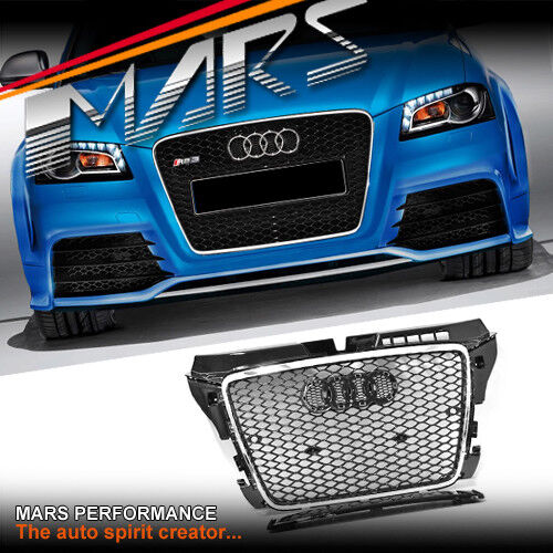 Chrome Black Honeycomb RS3 Style Front Bumper Grille Grill