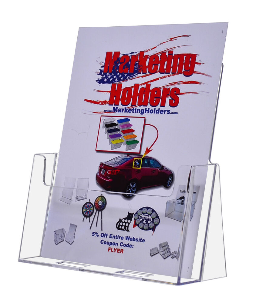 Qty 18 plastic countertop brochure holder 85x11 flyer ebay for Plastic flyer stand
