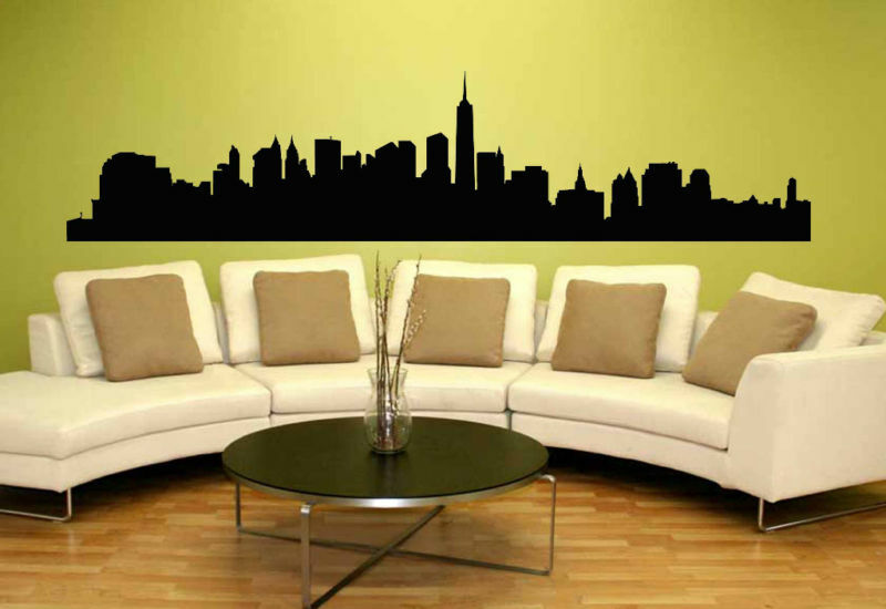 new york city nyc skyline silhouette mural wall art vinyl decal sticker ebay. Black Bedroom Furniture Sets. Home Design Ideas