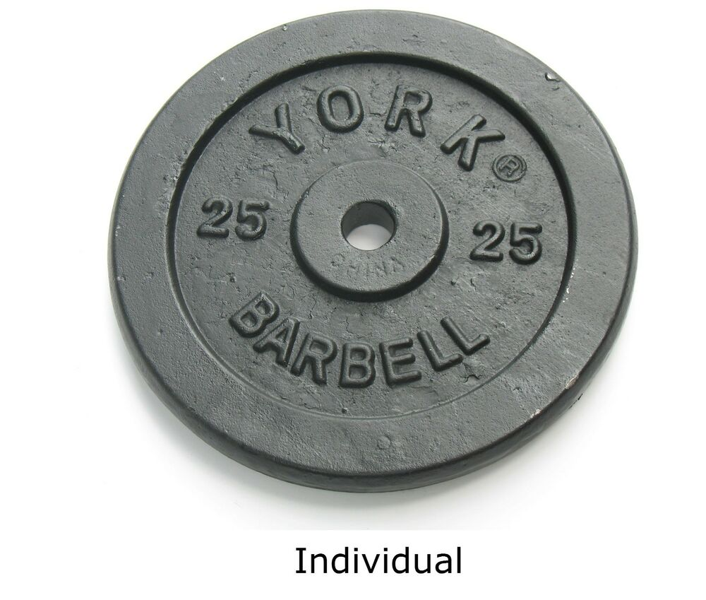 York Dumbbell Exercise Programme: Weight Plates York Barbell 25 Lbs Black Contour Grip