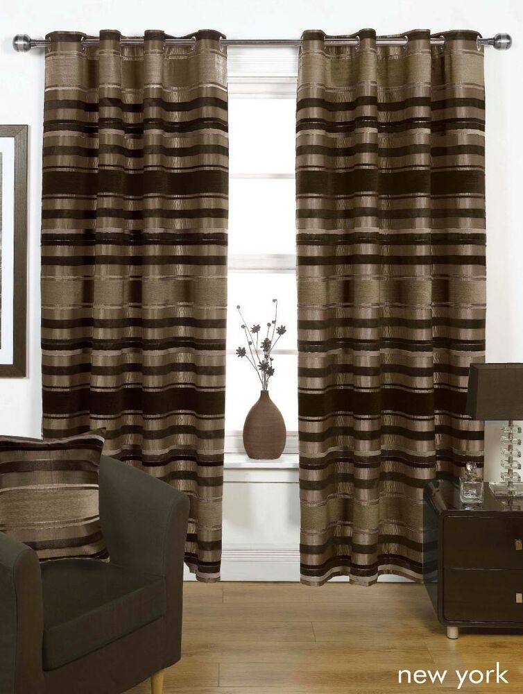 brown natural thick heavy lined eyelet curtains 3 sizes ebay. Black Bedroom Furniture Sets. Home Design Ideas