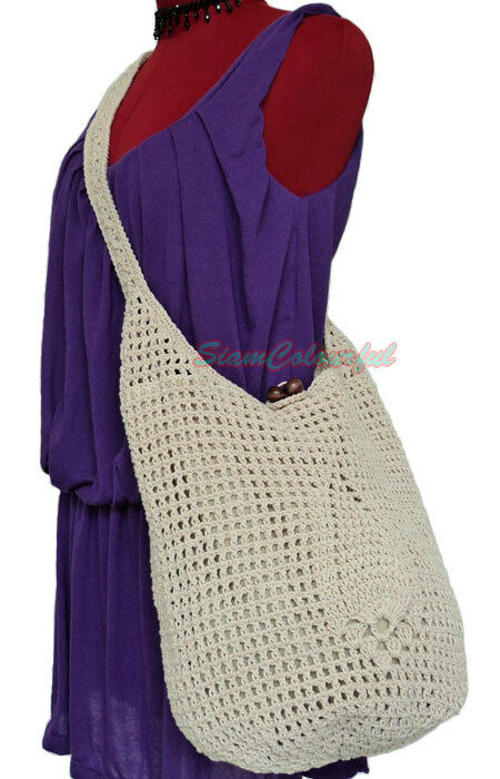 Crochet Shoulder Bag : CROCHET HIPPIE BOHO SLING CROSSBODY TOTE SHOULDER BAG eBay
