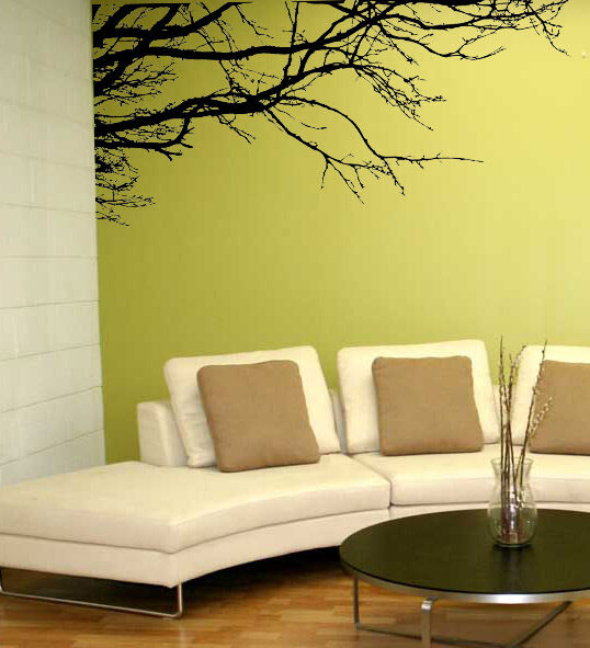 Tree top branches removable mural wall art home kid room for Art deco mural wall
