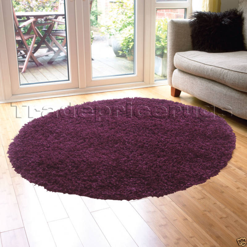 LARGE THICK ROUND CIRCLE AUBERGINE PURPLE SHAGGY RUG