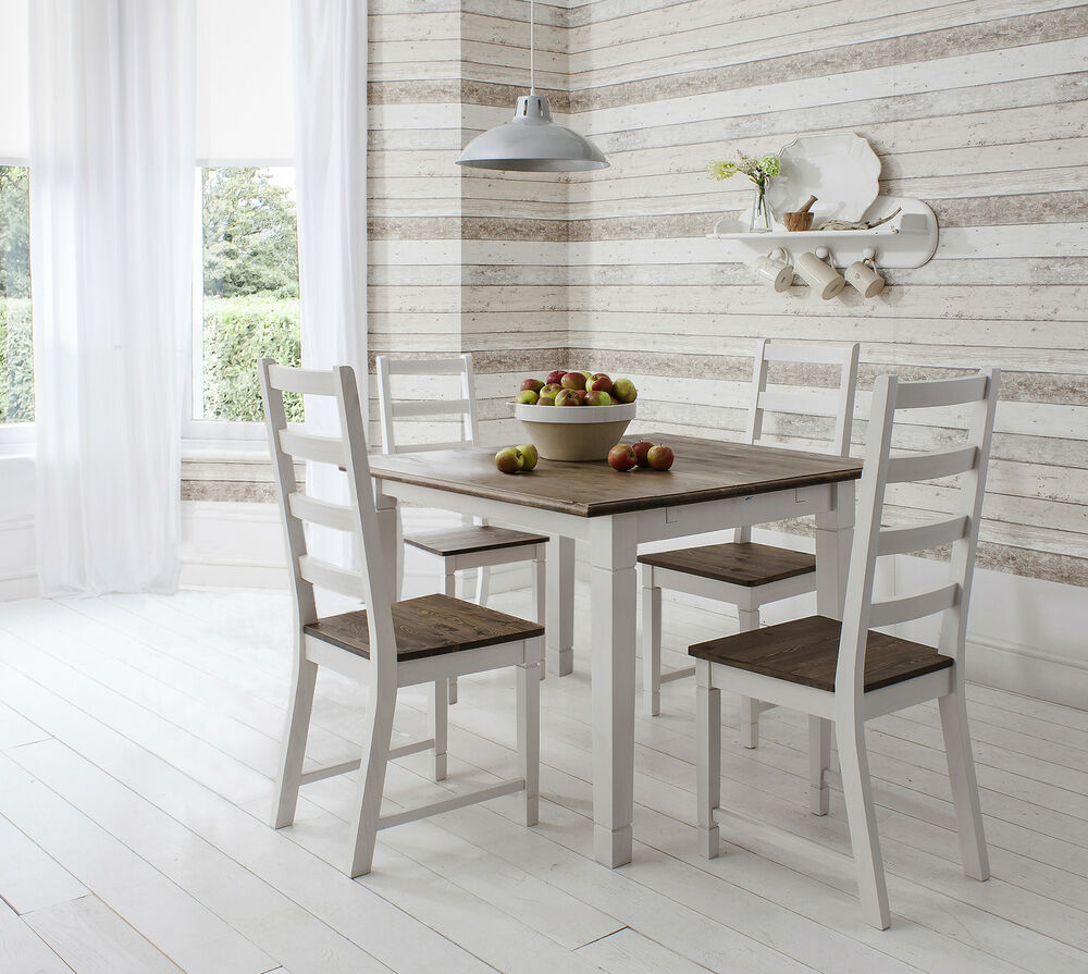 Table And 4 Chairs Dining Table In Dark Pine And White