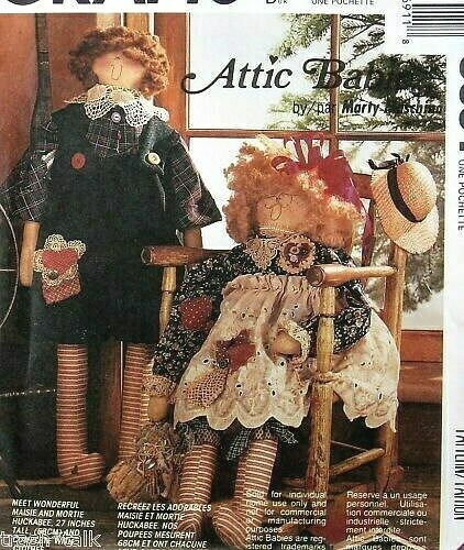 Attic Babies Cloth Rag Doll Pattern Large 27 Quot Primitive