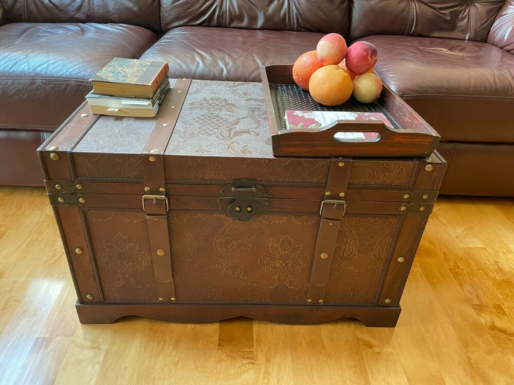 New orleans large wood storage trunk wooden hope chest ebay