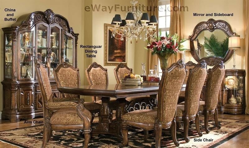 7 pc english formal dining room furniture table set ebay for Formal dining room furniture