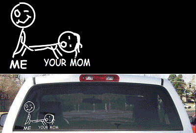 Funny stick figure family your mom rear window decal ebay for Window transfers