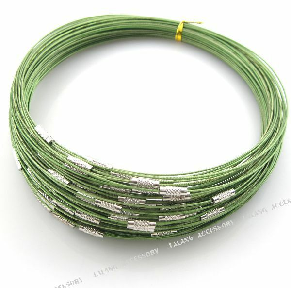 10 Green Steel Memory Wire Cord Necklace Choker 160179
