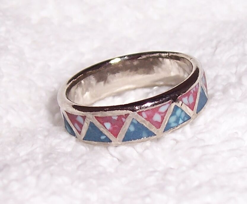 Turquoise And Coral Inlay Band Style Ring Southwestern Ebay