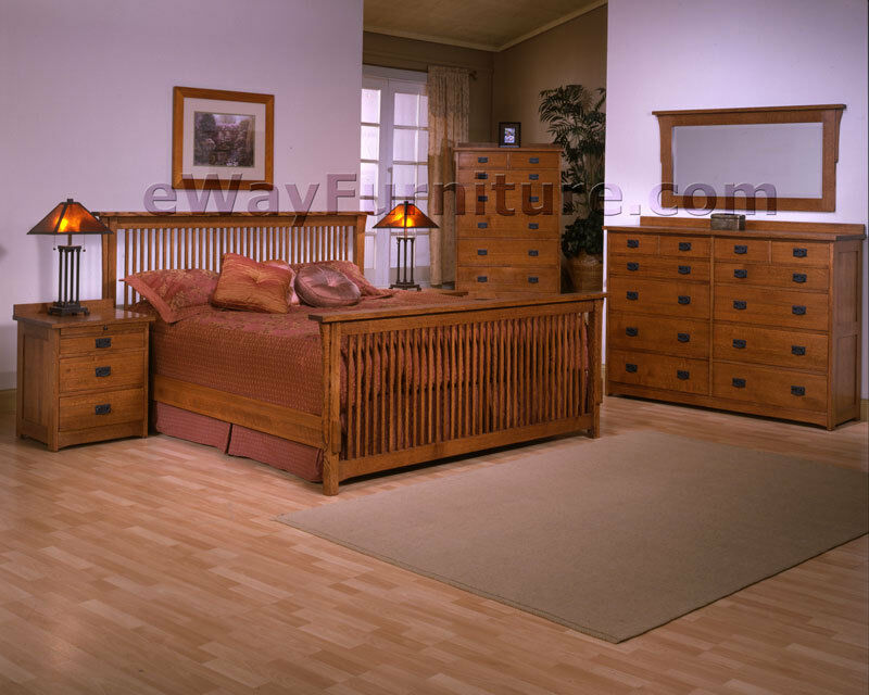 Mission style solid rift and quarter sawn oak wood king for Mission style bedroom furniture