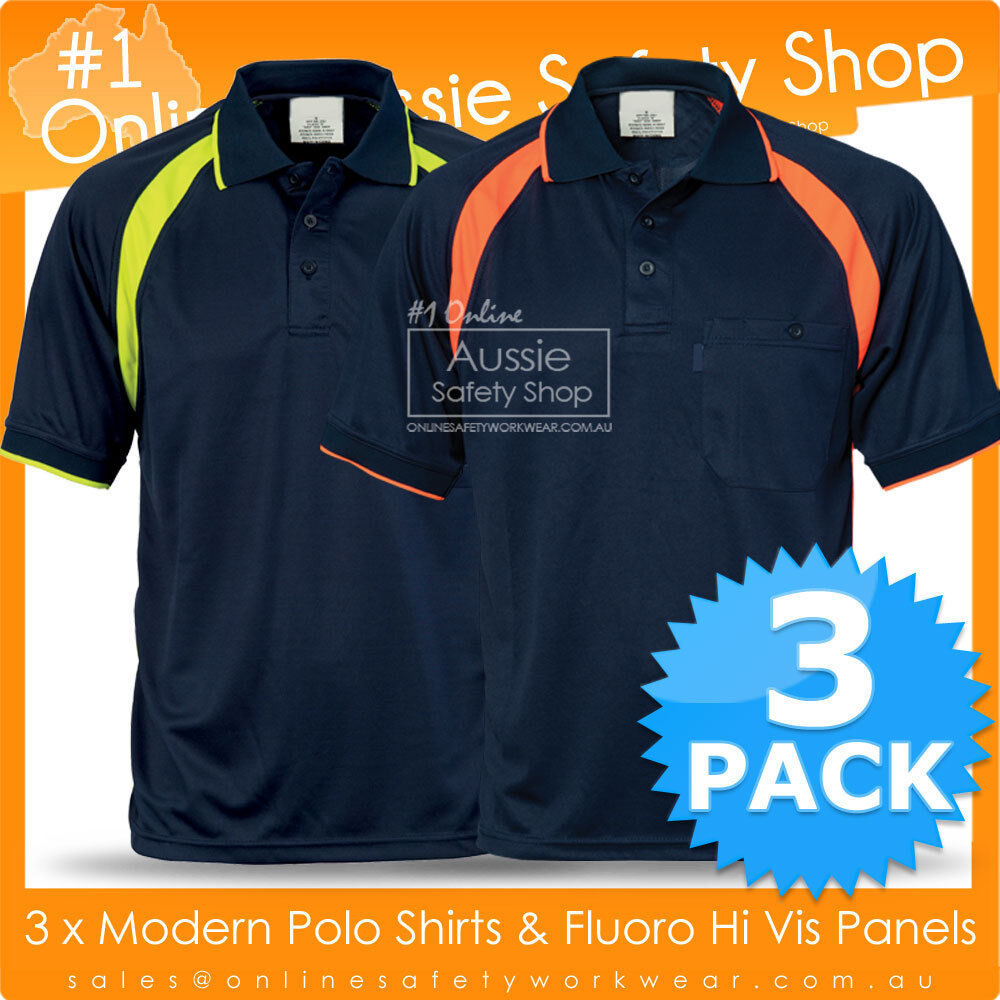 3 x hi vis breeze polo shirt panel micromesh work wear ebay for What stores sell polo shirts