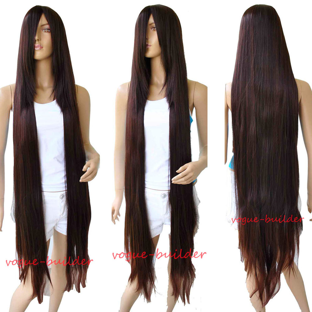 51 long bang brown straight cosplay hair wig ebay