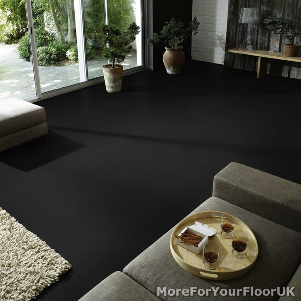 Black Vinyl Kitchen Flooring: Plain Black Vinyl Flooring - Anti Slip Quality Lino, 2m