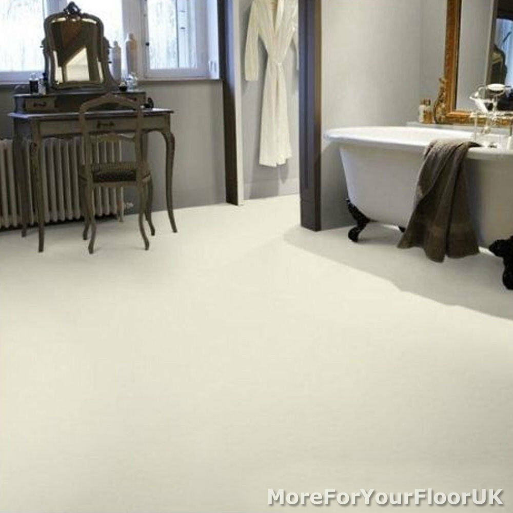 Plain white vinyl flooring anti slip quality lino 2m ebay for White kitchen vinyl floor