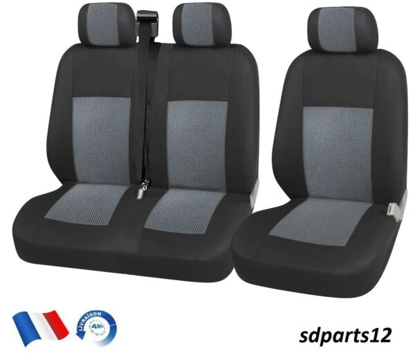 Renault Trafic Master  Housse Couvre-Sieges 2+1 Luxe Tissus Gris-Noir