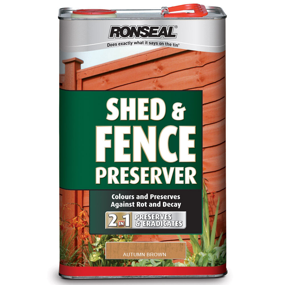 Ronseal 5l shed and fence preserver autumn brown 5 litre for Oil based fence paint