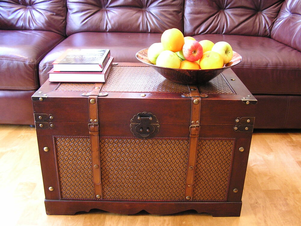 Wood Trunks And Chests ~ Boston large wood storage trunk wooden hope chest ebay