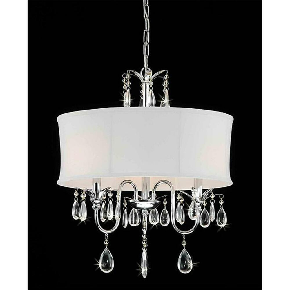 White Drum Shade Chrome Crystal 3 Light Chandelier