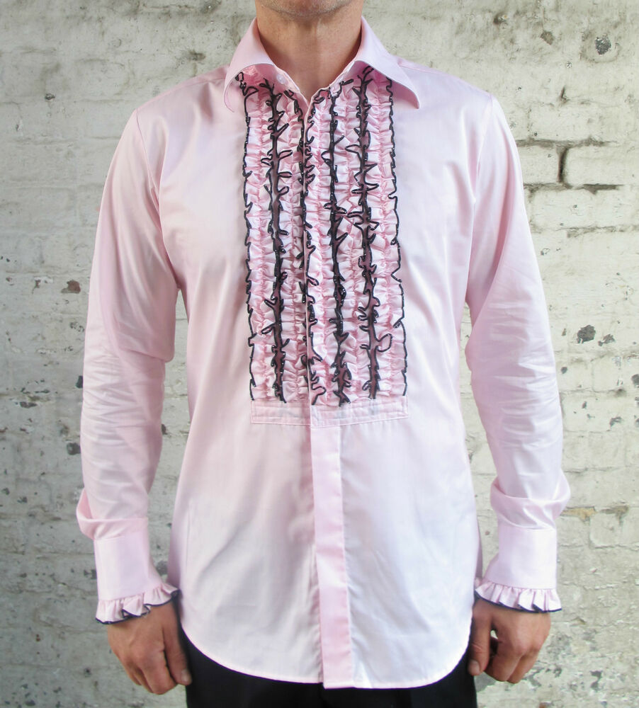 Mens retro pink ruffle frill tuxedo dress shirt dinner for Red ruffled tuxedo shirt
